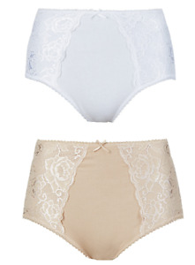 Ex M&S Cotton Rich Firm Tummy Control Lace Panel Full Knickers Nude / White UK 8