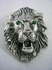 LION PENDANT CHARM IN STERLING SILVER WITH EMERALD GREEN EYES