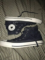Blue Floral Laced High Top Converse Women's Size 7 Converse All Star