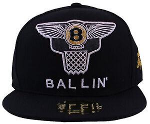 BALLIN Strap Snapback Cap  One Size Baseball Flat Peak