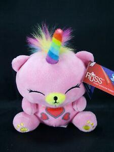 "Russ Berrie Unicorn Pink UniBear Rainbow Mane NEW Red Hearts Me Bears 7"" Baby"