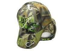 Bite Me Bait Fishing Lure Fish Bass Camouflage Camo Embroidered Cap Hat 925B