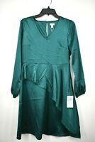 Spense Womens Green V Neck Ruffle Polka Dot Dress Long Sleeve Stretch Fit 4