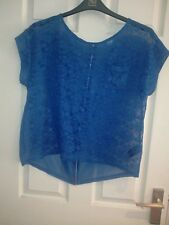 COBALT BLUE LADIES SIZE 12 LACE AND CHIFFON OVER TOP VERY MODERN USED
