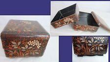 Boite, coffret ancien en bois laqué - décor peint main -style asiatique