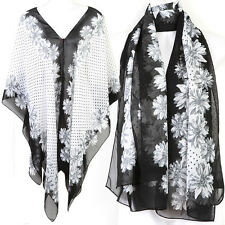 Floral Kaftan Caftan Tunic Dress Wing Blouses Scarf Beach Cover Up White ts40w