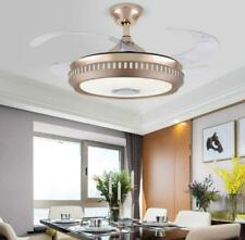 """42"""" Modern Led Invisible Ceiling Fan Lamp Bluetooth Chandelier w/ Speaker Remote"""