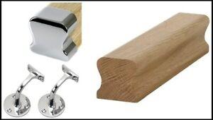 Wall THR Handrail Oak & Chrome Fittings Handrail Kit Quality Uk Manufactured!