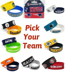 NFL Team Rubber Silicon Bracelet Wristband 2-Pack