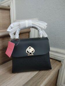 NWT-Kate Spade-Romy-Mini-Top Handle-Black-Pebbled Leather-Crossbody-$298