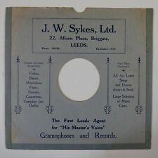 "10"" 78 rpm gramophone record sleeve J W SYKES briggate leeds"