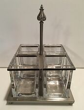 SOUTHERN LIVING AT HOME Astoria FLATWARE CADDY Metal and Glass-EUC