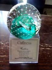paperweight Cauldron Caithness green white controlled bubbles Innes Burns +stand