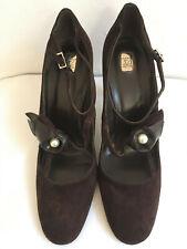 Johnny Lang Designer handmade 39 brown suede high heel Mary Jane shoes, BNWOT