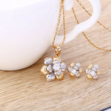 """9K 9ct Yellow """"GOLD FILLED"""" Ladies White Stones NECKLACE & Earrings.Lovely SET"""