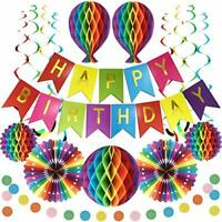 Rainbow Birthday Party Decorations Reusable Birthday Decoration Set Happy