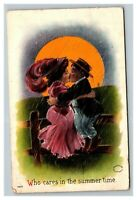 Vintage 1908 Romantic Postcard Couple Kissing Under Summer Moon - Nice