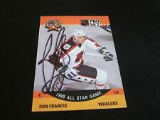 RON FRANCIS AUTOGRAPHED 1990 PRO SET ALL STAR CARD-HARTFORD WHALERS