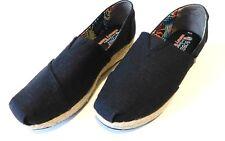 Bob's From Skechers Memory Foam Black Denim Wedge Shoes sz 10