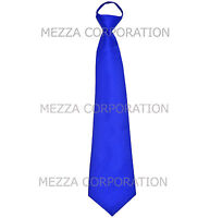 New formal men's pre-tied ready knot necktie polyester solid wedding royal blue