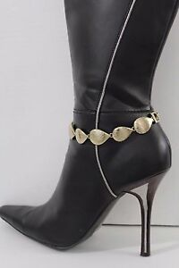Women Gold Metal Chain Boot Bracelet Anklet Heel Shoe Drops Charms Bling Jewelry
