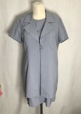 Giorgio Fiorlini Blue Pin Striped  Career Suit Dress & Jacket SZ15/16 #0278
