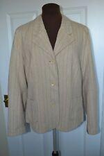 OSKA Ladies Size II (UK 12) Wool Herringbone Stripe Beige Jacket