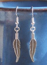 FEATHER Tibetan & .925 Sterling SILVER pierced dangle earrings Handcrafted