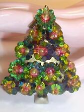 Vintage Margarita Watermelon Rivoli  Glass Flowers Christmas Tree Pin Brooch