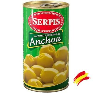 Green Olives Stuffed with Anchovies 350g El Serpis®  - Spanish Olives  I  Tapas