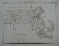 Original 1835 Bradford Hand Colored Antique Map MASSACHUSETTS Canals Railroads