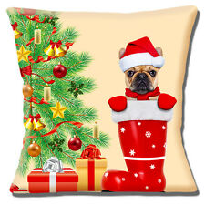"FAWN FRENCH BULLDOG SANTA HAT CHRISTMAS TREE ON  CREAM 16"" Pillow Cushion Cover"