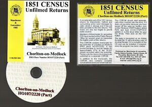 1851 CENSUS : CHORLTON ON MEDLOCK  MANCHESTER : CD : GENEALOGY : FAMILY HISTORY