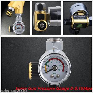 Car G1/4 Metal Spray Paint Gun Air Pressure Regulator Spray Gun Gauge 0-0.10Mpa