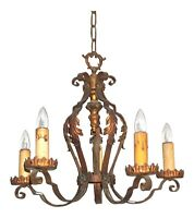 Antique Art Nouveau PolyChrome 5-Light Chandelier Early 20th Century