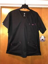 Womens Med Couture EZ-Flex #8403 Black W/Pink Trim Scrub Top Size 2XL NWT