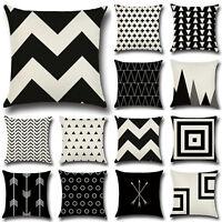 Design Black & White Cotton Linen Throw Cushion Cover Pillow Case Home Decor