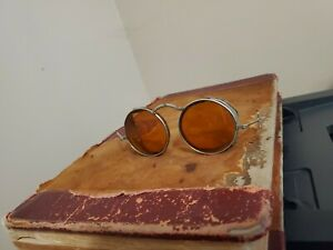 Antique Goggles WWII Era Amber Riding / Service Spectacles-Old Steampunk Glasses