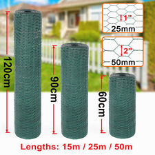 More details for 15-50m long pvc coated green wire mesh chicken fencing aviary rabbit fence hutch