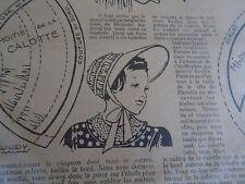 """PATRON ORIGINAL  POUPEE """" BLEUETTE """" CHAPEAU COULISSE MAI 1949"""