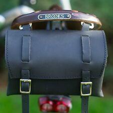 Genuine Leather Borsa da sella manubrio bicicletta telaio retrò vintage artigianale Nero