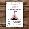 10 *PERSONALISED* camping SLEEPOVER festival BIRTHDAY party INVITATIONS