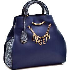 New Dasein Charm Women Leather Tote Bag Satchel Handbag Purse w/ Embossed Trim