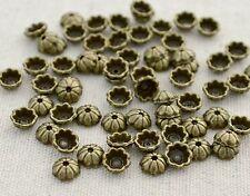 40  Stk. Perlenkappen Blümchen, bronze - 6x2,5 mm Perlen Kappen Blumen Perle