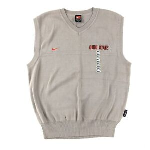 Nike Team Ohio State Buckeyes Men's Small V Neck Sweater Vest Cotton NWT