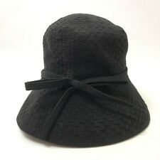 Eric Javits Black Velvet Bucket Hat Packable Basketweave with Bow