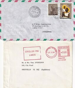 X608 Vatican City 10 covers postcards to UK; 1965 - 2013