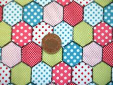 SPOTTY HEXAGONAL PATCHWORK DESIGN SALMON PINK- 100% COTTON FABRIC FQ'S