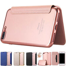 Flip Leather Glossy Transparent Wallet Card Case Cover For iPhone X 5 6 7 8 Plus