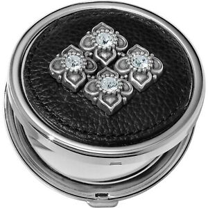 NWT Brighton ALCAZAR Double Sided Compact Mirror Black Leather Crystals MSRP $42